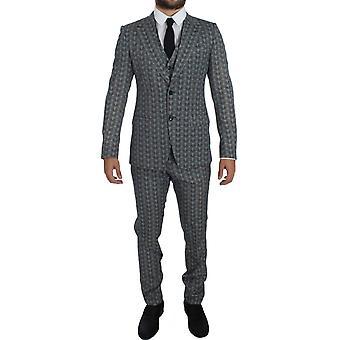 Dolce & Gabbana Blue Wool Owl Print Slim Fit 3 Piece Suit GTT10172-5