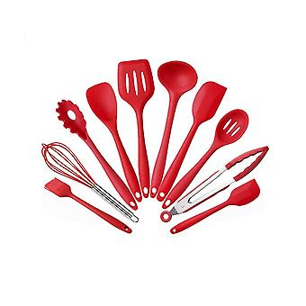 10PCS Silicone Kitchen Utensil Set High Heat Resistant Red