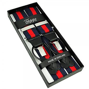Ties Planet Navy Blue & Red Striped Trouser Braces (with Black Leather Dual 2 In 1 Button And Clip Attachment)