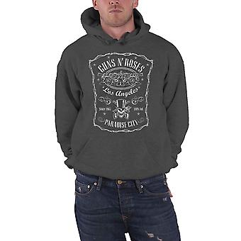 Guns N Roses Hoodie Paradise City Band Logo Official Mens Charcoal Grey Pullover