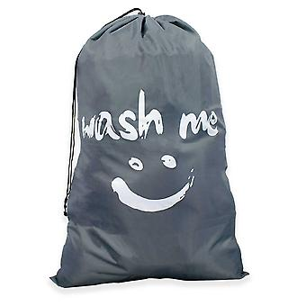 TRIXES Laundry Basket Washing Basket Travel Bag Drawstring Bags Large Size Grey