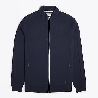 Thomas Maine  - Full Zip Sweater With Trim - Navy