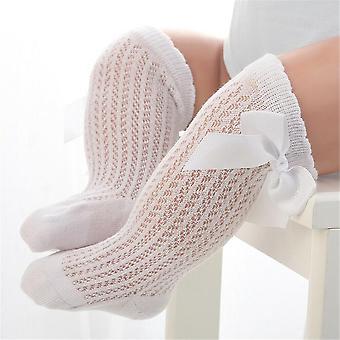 Høy kne sokker med bue mønster