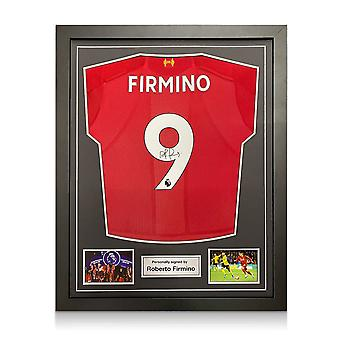 Roberto Firmino Signed Liverpool Shirt. Standard Frame