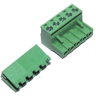 5 Pin Male Right Angle 5.08mm Female Screw Pair Set