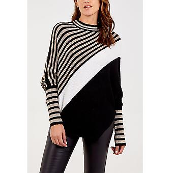 Nicole Striped Asymmetric Jumper | Black | One Size