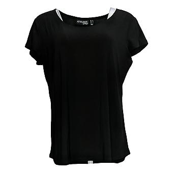 Attitudes By Renee Women's Top Short Sleeve Round Neck Black