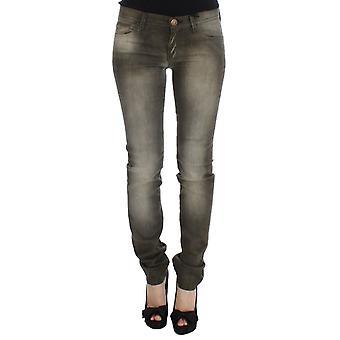 Gray wash cotton blend slim fit jeans