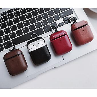 Stuff Certified® Leather Luxury Case for AirPods 1/2 - Leather Skin AirPod Case Cover - Red