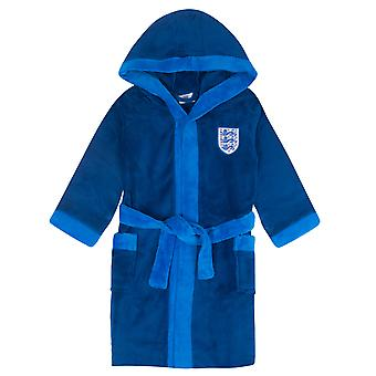 England Boys Dressing Gown Robe Hooded Fleece 3 Lions OFFICIAL Football Gift