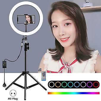 PULUZ 1,1m jalustakiinnike + 12 tuuman RGB-himmennettävä LED-rengas Vlogging Selfie Valokuvaus Videovalot Suora lähetyssarjat kylmällä kengällä jalustapallopää &;