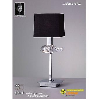 Akira Tafellamp 1 Lamp E14, gepolijst chroom met zwarte lampenkap