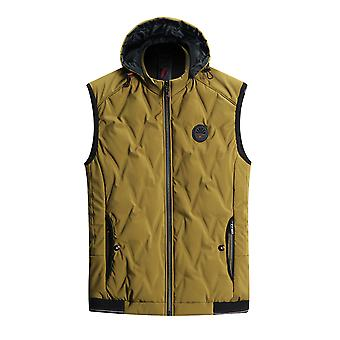 Yunyun Men's Hooded Plus Velvet Solid Color Heating Zipper Pocket Vest