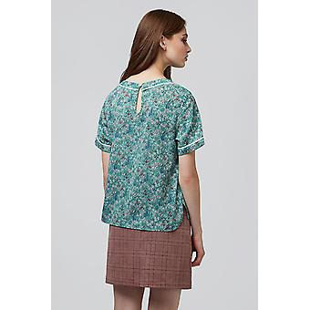Louche Soline Floral Piped Top Green