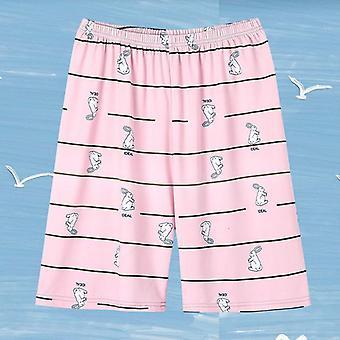 Γυναίκες τυπωμένα χαλαρά Kawaii κορεατικό στυλ γόνατο μήκος sleepwear γλυκό πιτζάμα
