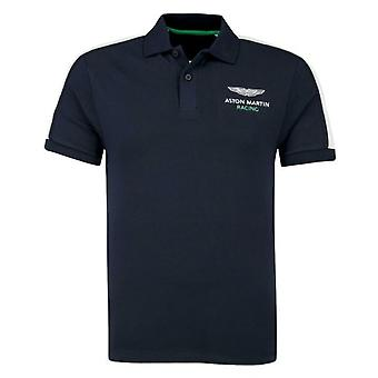 Hackett Aston Martin Racing Polo Top Mens Taped T-Shirt Navy HM562349 595