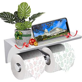 GEMITTO 304 Stainless Steel Bathroom Paper Holder Rack Wall Mounted Double Roll Toilet Tissue Stand
