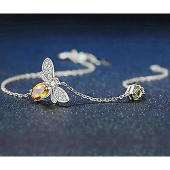 Cute Bee 925 Sterling Silver Gold Plated Bracelet