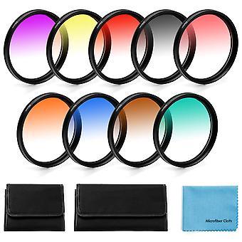 52Mm abgestufte Farbfilter Kit, fotover 9 Stück allmähliche Farbe Linsen filter Kit Set Zubehör für