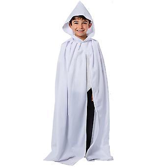 Charlie cioară mantie albă sau pelerină cu glugă pentru copii 7-9 ani
