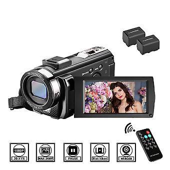 "Video camera camcorder melcam 1080p 30fps 24mp 16x digital zoom 3"" 270 degree flip screen vlogging c"