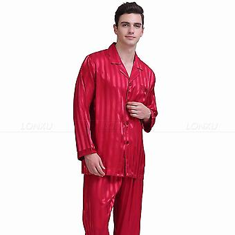 Ensemble de pyjamas en satin de soie homme, vêtements de nuit/vêtements de détente
