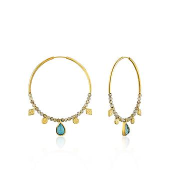 Boucles d'oreilles Ania Haie Silver Shiny Gold Plated Turquoise Labradorite Hoop E014-05G