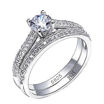Double Stackable, Engagement Silver Ring, Sets Accessory