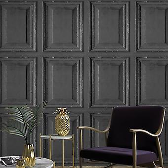 Rustic Wood Panel Wallpaper Black Grandeco A49203