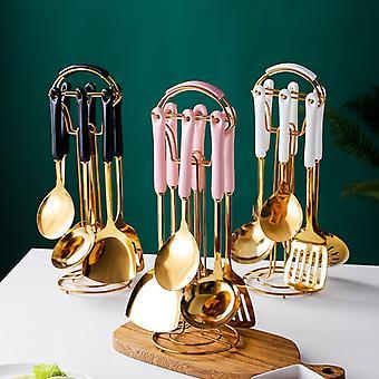 Ustensiles de cuisine 7 PCS ensemble de style nordique Outils de cuisine en acier inoxydable accessoires de cuisine de luxe ustensiles de cuisine Cuillère outil spécial