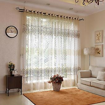 Floral Modern Sheer Tulle Curtains ( Set 1)