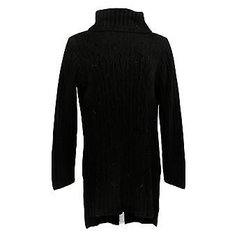 DG2 Por Diane Gilman Women's Sweater Lux Touch Cable Knit Tunic Black 731045