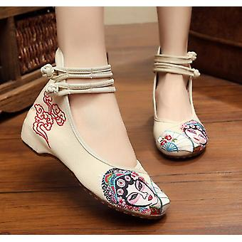 Women's Chinese Ethnic Embroidery Flat Ballet Marry Janes Cheongsam Dancing Shoes Mask