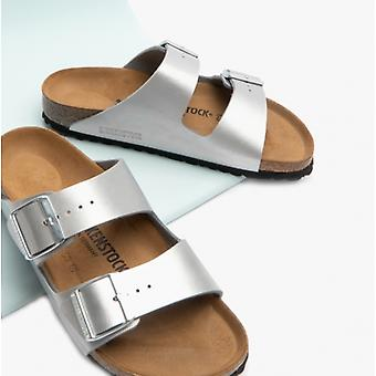 Birkenstock Arizona 1012283 (nar) Ladies Birko-flor Two Strap Sandals Silver