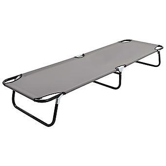 Folding Sun Lounger Grey Steel