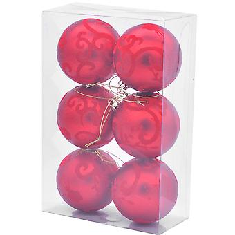 6 Red 8cm Damask Flocked Shatterproof Christmas Tree Bauble Decorations
