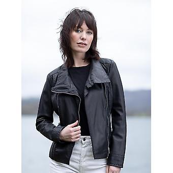 Martina casual leren jas in zwart