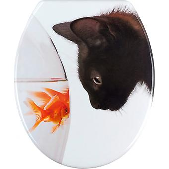 wC-Seat Fish & Cat 38 x 42 cm Thermoset valkoinen