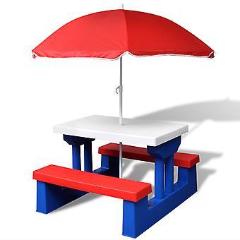 vidaXL stół piknikowy dla dzieci z ławkami parasol wielobarwny