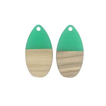 Zola Elements Wood & Resin Pendant, Teardrop 16x30.5mm, 2 Pieces, Emerald Green
