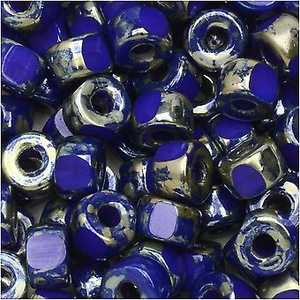 Tsjechische glazen matubo, tri-cut 2/0 zaad kraal, 20 gram buis, ondoorzichtige blauwe Rembrandt