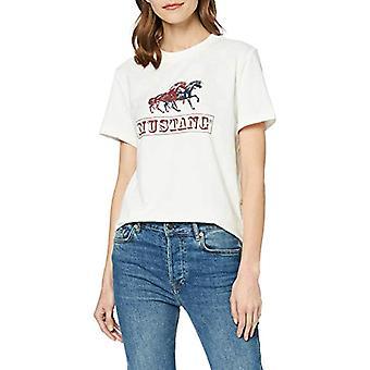 MUSTANG Audrey Print Iconic T-Shirt, Beige (Cloud Dancer 2020), 40 (Storlekstillverkare: X-Small) Kvinna