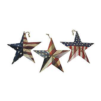 Sæt af 3 Metal Rustik American Flag Star Wall Art Patriotisk Hængende Home Decor