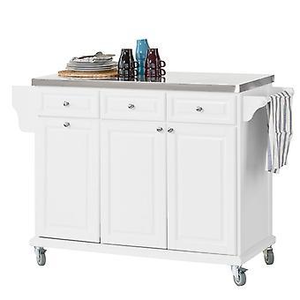 Gabinete de SoBuy lujo cocina almacenamiento isla, blanco, FKW33-W