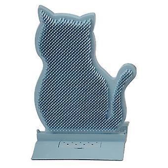 Sininen kiinteä ovisaumakissan hankauslaite, karvanpoisto- ja kutinahierontaharja, kissan hankausharja lelu az6627