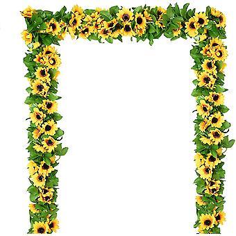4pcs künstliche Sonnenblume Girlande, Seide Sonnenblume Rebe, künstliche Blumen mit grünen Blättern