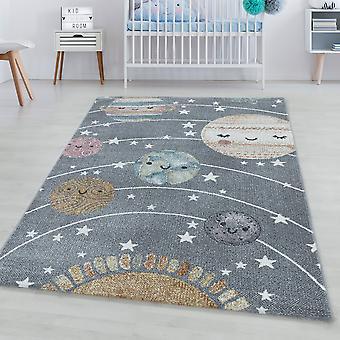 Børns tæppe FUNNY kort bunke tæppe planet univers sol måne design