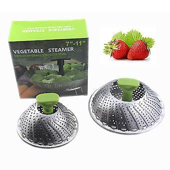 Stainlesssteel  adjustable folding steamer drain basket fruit basket expanded: 24x24cm, closed: 14x14cm homi3084