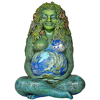 Millennial Gaia Statue, Nature Mother Earth Pregnant Gaia Goddess Art Sculpture, Earth Mama Loves Everyone Polyresin Diy Painted Figurine For Mother's
