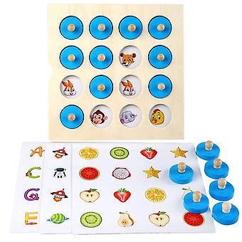 Children Wooden Puzzle Board Game Instant Photo Memory Chess
